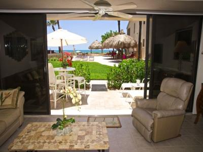 Living Area with patio and Gulf of Mexico view